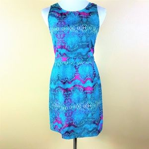 Charlie Jade Dress Size Small Snakeskin Print Blue